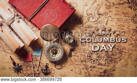 Happy Columbus Day Concept. Vintage American Compass And Retro Treasure Manuscript.  Flat Lay, Top V