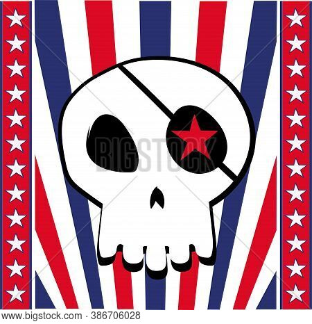 Halloween Skull On Confederate States Of America Flag. Cartoon Skeleton Head Wearing Blindfold With