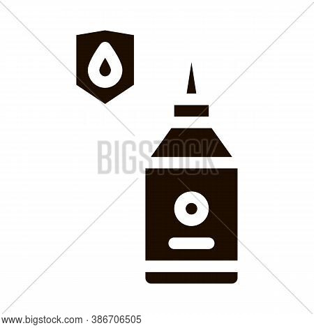 Waterproof Material Glue Vector Icon. Waterproof Material Mastic Bottle Container, Industrial Use Pi