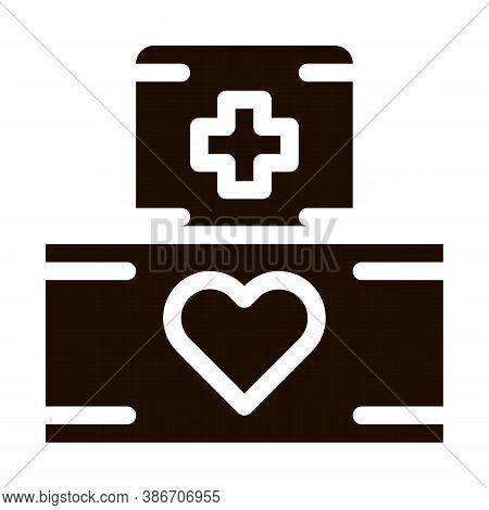 Volunteers Support Medikit Vector Icon. Volunteers Support, Help Charitable Organizations, Heart On