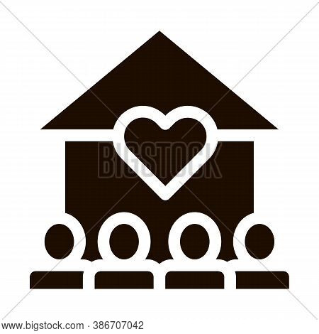 Volunteers Support House Vector Icon. Volunteers Support, Charitable Organizations Pictogram. Heart