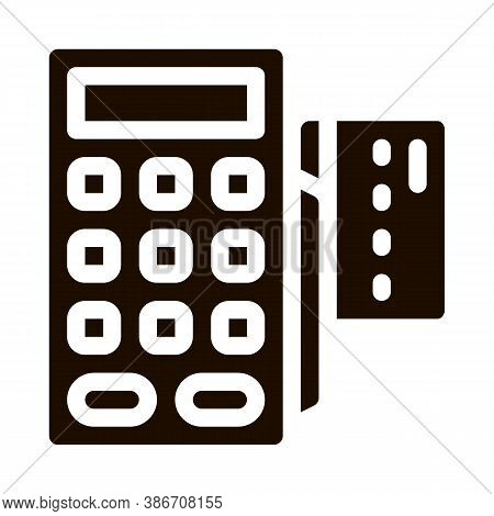 Payment Terminal Bank Card Vector Icon. Online Transactions, Secure Financial Internet Banking Payme
