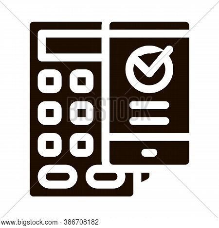 Payment Terminal Smartphone Vector Icon. Online Transactions, Secure Financial Internet Banking Paym