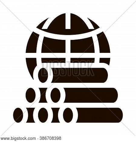 Tubes Planet Earth Problem Vector Icon. Tubing Produce Metal Spout Environmental Problem, Industrial