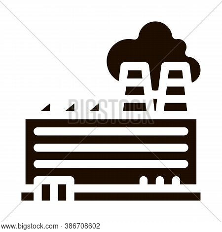Industrial Plant Building Vector Icon. Build Factory Plant Environmental Pollution, Chemical, Radiol
