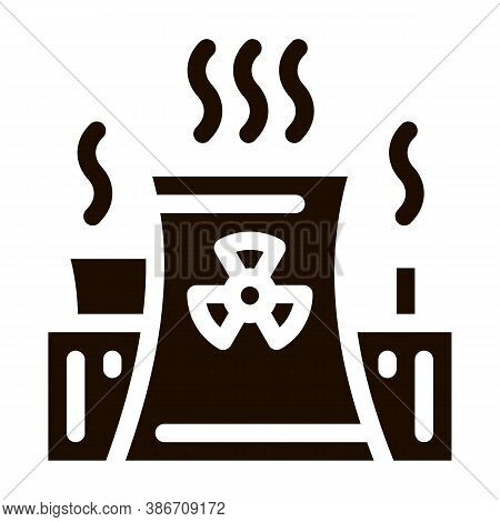 Generating Atomic Plant Vector Icon. Nuclear Atomic Facility Environmental Pollution, Chemical, Radi