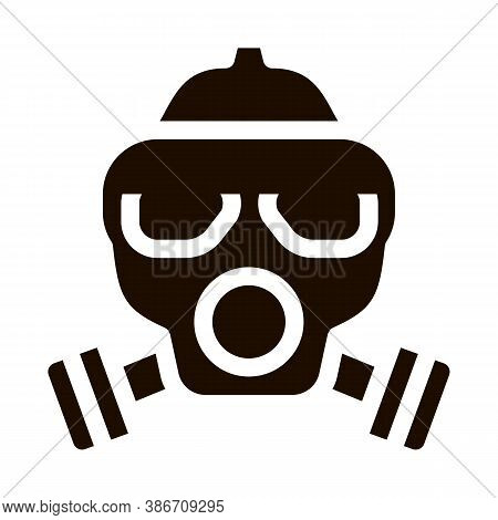 Safe Life Gaz Dirty Air Mask Vector Icon. Air Environmental Pollution, Chemical, Radiological Contam