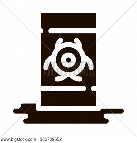 Nuclear Waste Container Vector Icon. Scrap Nuclear Materials Environmental Pollution, Chemical, Radi