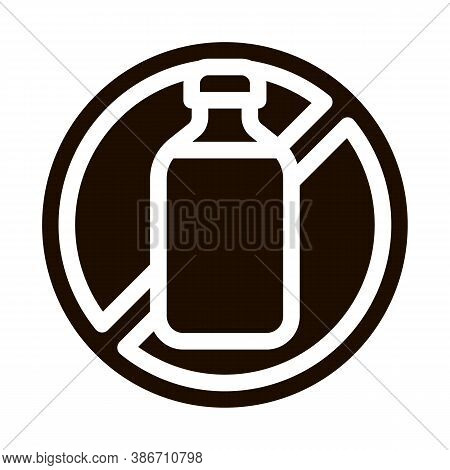 Allergen Free Sign Lactose Vector Icon. Allergen Free Beverage Product Pictogram. Crossed Out Mark B