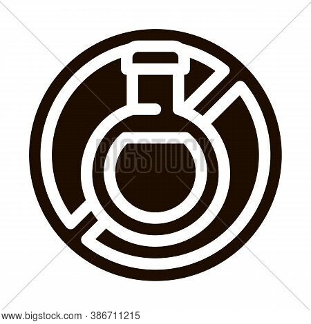 Allergen Free Sign Drink Vector Icon. Allergen Free Beverage Product Pictogram. Crossed Out Mark Bot