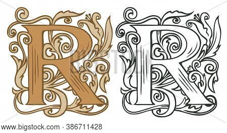 Initial Letter R With Vintage Baroque Decorations. Two Vector Uppercase Letters R In Beige And Black