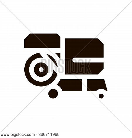 Shaking Harvester Vehicle Vector Icon. Agricultural Harvester Wheel For Harvesting Reaping On Farm F