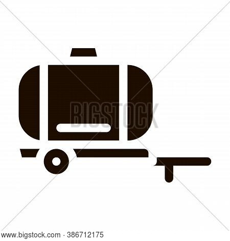 Uniaxial Trailer Vehicle Vector Icon. Agricultural Transport Water Trailer Machinery Pictogram. Indu