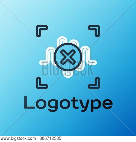 Line Rejection Voice Recognition Icon Isolated On Blue Background. Voice Biometric Access Authentica