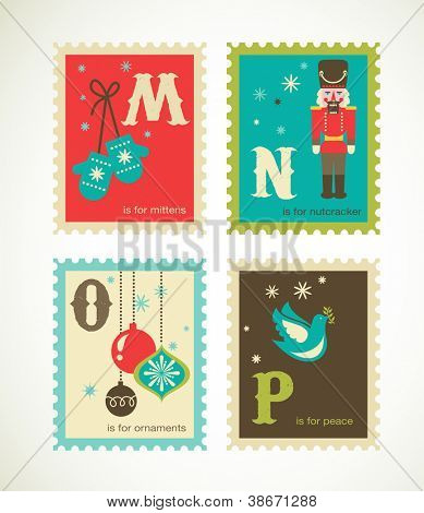 Christmas alphabet with cute xmas icons