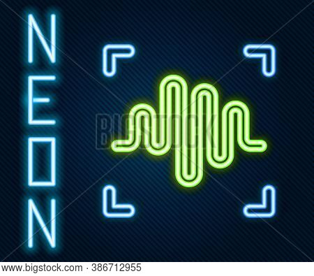Glowing Neon Line Voice Recognition Icon Isolated On Black Background. Voice Biometric Access Authen
