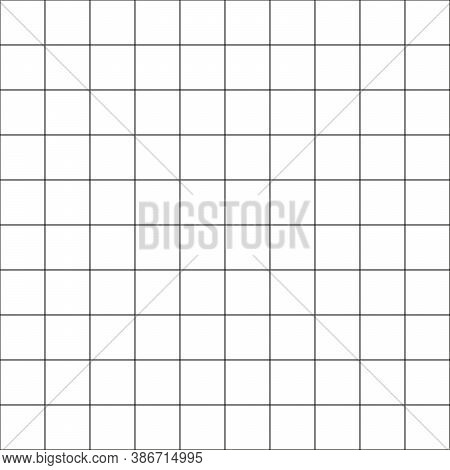 Big Grid. Simple Line Art Seamless Pattern. Black And Wite Background.