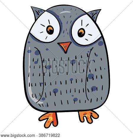 Cute Funny Owl, Adorable Childish Style. Vector Doodle Illustration. Vector Clip Art Illustration.