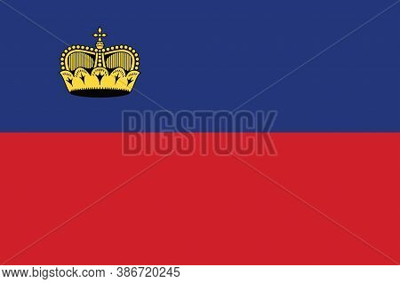 National Liechtenstein Flag, Official Colors And Proportion Correctly. National Liechtenstein Flag.