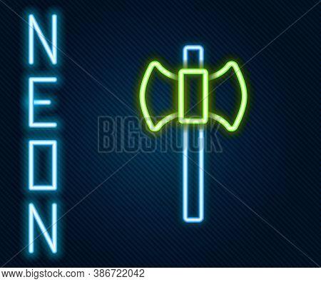 Glowing Neon Line Wooden Axe Icon Isolated On Black Background. Lumberjack Axe. Happy Halloween Part