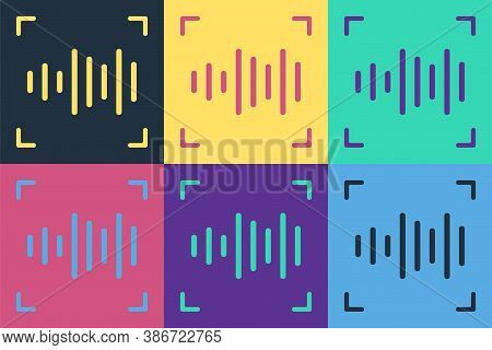 Pop Art Voice Recognition Icon Isolated On Color Background. Voice Biometric Access Authentication F