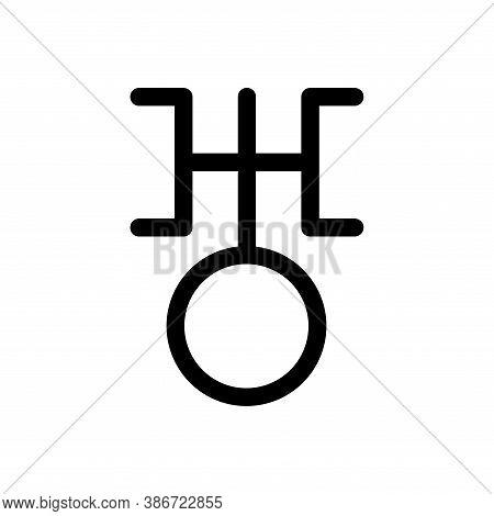 Uranus Planet Symbol. Vector Sign. Astrological Calendar. Zodiacal Black And White Horoscope. Outlin