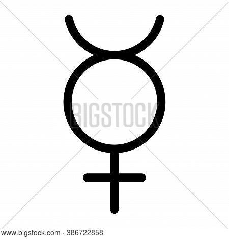 Mercury Planet Symbol. Vector Sign. Astrological Calendar. Zodiacal Black And White Horoscope. Outli
