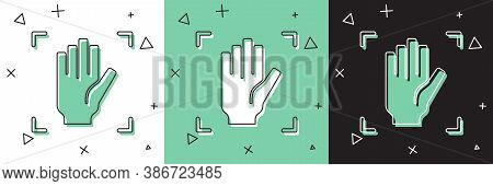 Set Palm Print Recognition Icon Isolated On White And Green, Black Background. Biometric Hand Scan.