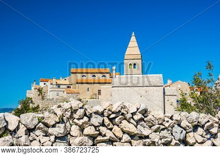 Amazing Old Town Of Lubenice On The High Cliff, Cres Island In Croatia