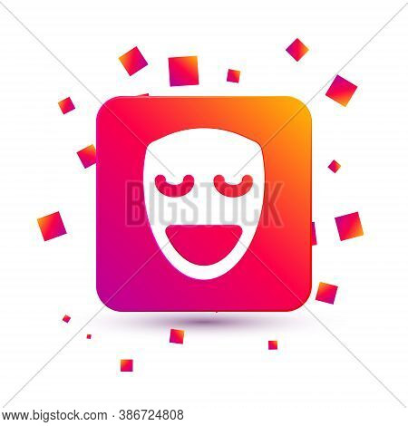 White Comedy Theatrical Mask Icon Isolated On White Background. Square Color Button. Vector