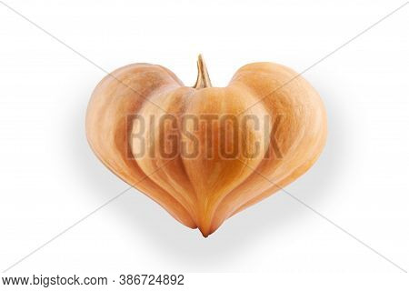 Heart Shaped Pumpkin Isolated On White Background. For Holiday Design, Halloween Or Valentine's Day.