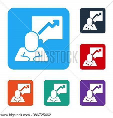 White Leader Of A Team Of Executives Icon Isolated On White Background. Set Icons In Color Square Bu