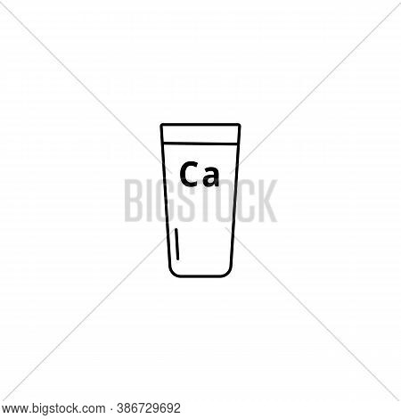 Glass Of Milk. The Product Is Rich In Calcium. Simple Black Outline Vector Icon Isolated On A White