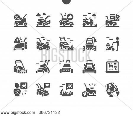 Lawn Mover On Grass. Machine For Cutting Lawns. Equipment For Lawn And Grass. Vector Solid Icons. Si