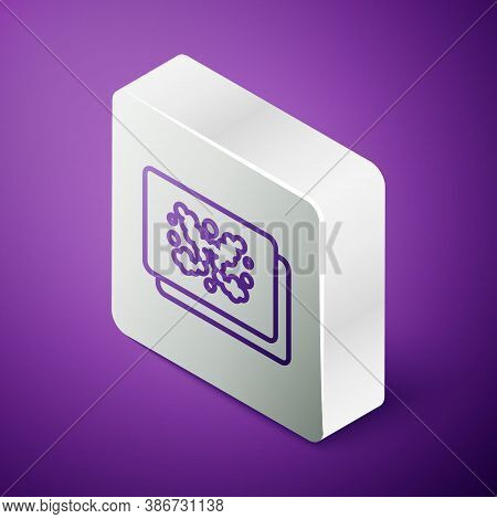 Isometric Line Rorschach Test Icon Isolated On Purple Background. Psycho Diagnostic Inkblot Test Ror