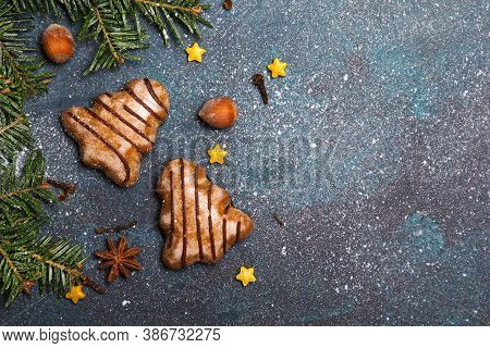 Beautiful Christmas Background With Decorations. Christmas Cookies Witch Chocolate, Gingerbread Cook