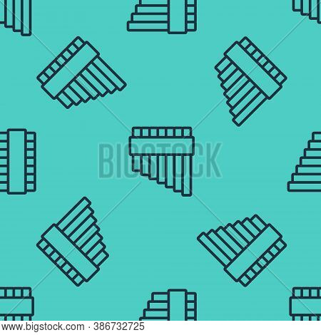 Black Line Pan Flute Icon Isolated Seamless Pattern On Green Background. Traditional Peruvian Musica