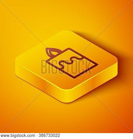 Isometric Line Burning Candle Icon Isolated On Orange Background. Cylindrical Aromatic Candle Stick