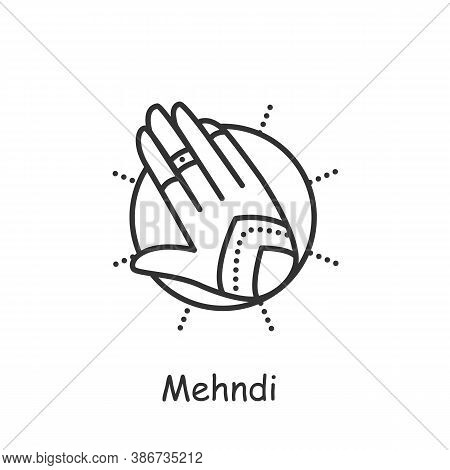 Mehndi Line Icon. Ethnic Oriental Henna Patterns On Hand. Indian Bridal Ornaments. Henna Tattoo. Ele