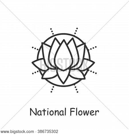 Lotus Flower Line Icon. Sacral, Totem Plant. Indian National Flower, Symbol. Sun Sign. Waterlily. In
