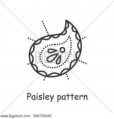 Paisley Pattern Line Icon. Ethnic Oriental Boho Ornament. Pine Cone Shape. Symbol Of Life. Indian Cu