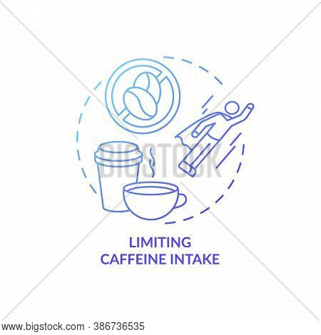 Limiting Caffeine Intake Blue Gradient Concept Icon. Avoid Coffee And Tea Before Bedtime. Improve Sl