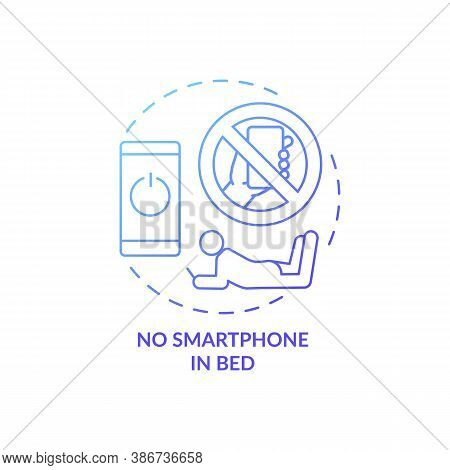 No Smartphone In Bed Blue Gradient Concept Icon. Avoid Phone Using Before Bedtime. Nighttime Routine