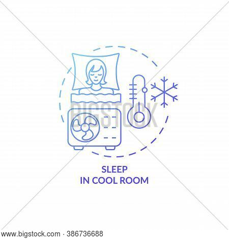 Sleep In Cool Room Blue Gradient Concept Icon. Recommendation For Better Dreaming. Asleep With Air C