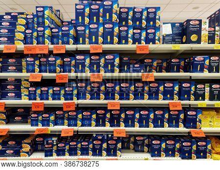 Rome, Italy - October 21, 2015. Barilla Pasta Area In A Supermarket. Barilla Group Produces Several