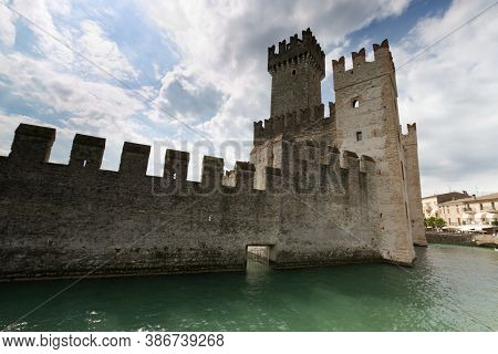 Garda Lake, Sirmione Castle, Italy. High Quality Photo