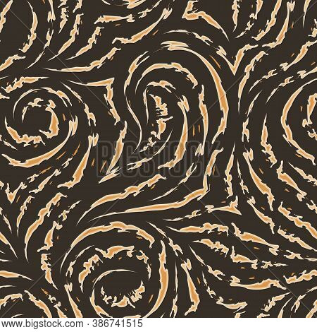 Seamless Vector Pattern On A Brown Background From Flowing And Broken Lines With Torn Edges. Print F