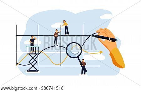 Chart Line Concept, Flat Tiny Business People, Vector Illustration. Abstract Company Progress Growth