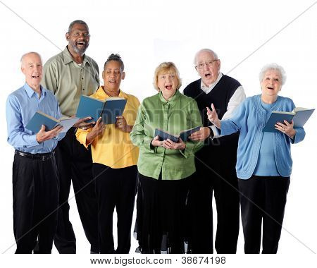 Six senior adults happily singing from song books.  On a white background.