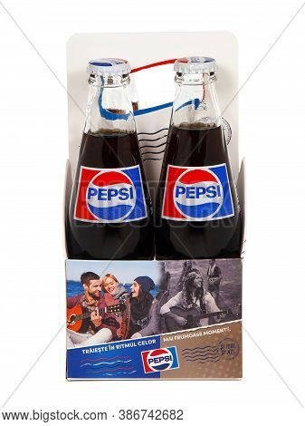 Bucharest, Romania - December 24, 2015. Pack Of Classic Pepsi Glass Bottles. Pepsi Is A Carbonated S